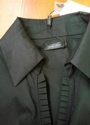 Брэндовая дизайнерская чёрная блуза хлопок diego reiga франция2 фото