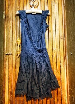 Темно-синее платье на запах miss selfridge бохо стиль с рюшами сарафан