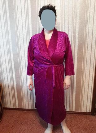Фиолетовый велюровый халат на запах