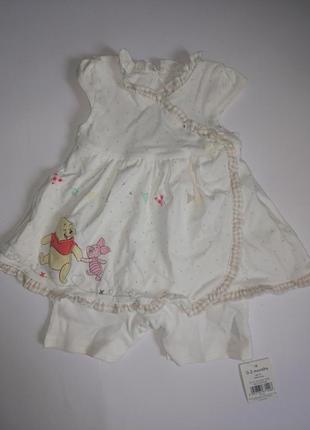 Новый фирменный бодик-платьице 0-3 мес. на новорожденную малышку