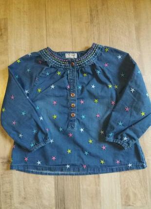 Джинсовая блузка рубашка на девочку next 2-3года.