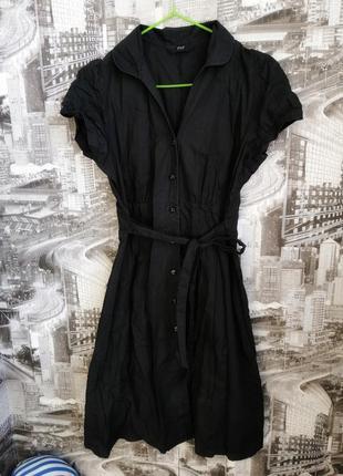 Чёрное платье халат с поясом