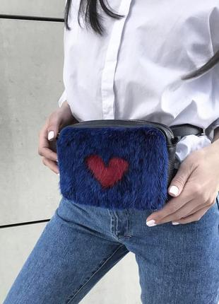 Кожаная поясная сумка с норкой
