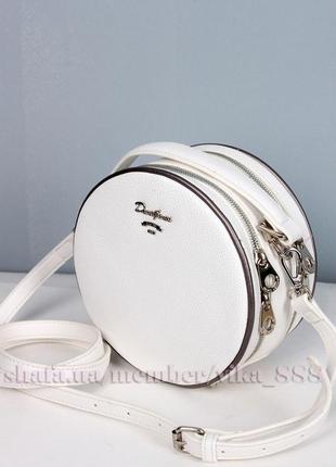Клатч круглый на два отделения, сумка через плече david jones 5952 белый