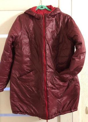Двухстороннее стеганое пальто красный-бордовый 52-54-56 размер 48 евро германия bonprix