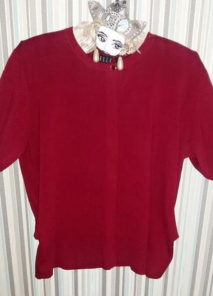 Бордовый джемпер с коротким рукавом, вязаная футболка elle на 46/48 размер