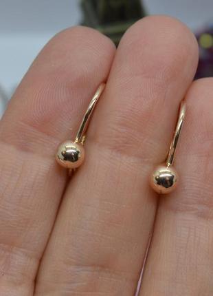 Золотые #серьги #крючки, #полусферы, #кульчики, #классика, #золоті_сережки, #585