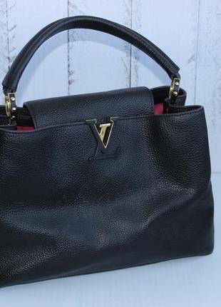 23х35см louis vuitton кожаная вместительная сумка на короткой ручке бочонок