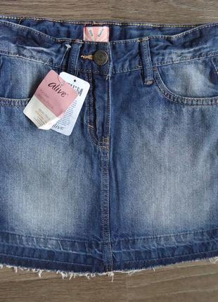 Крутяцкая джинсовая юбка alive германия, р-ры 128, 140, 164 см