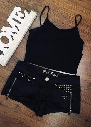 Джинсові шорти denim co, чорні ,базові шорти,чорные шорты,высокая посадка