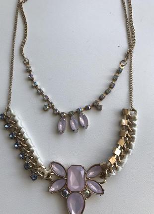 Ожерелье золотистое с розовыми камнями
