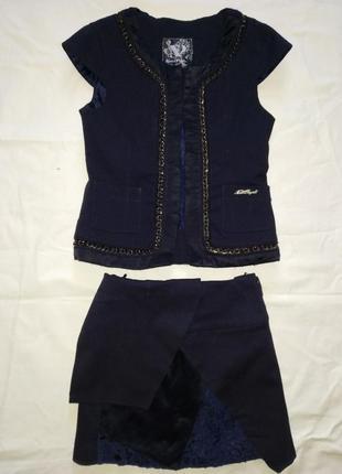 Школьный комплект: жилетка, юбка на девочку 8-10 лет. ' noble people '