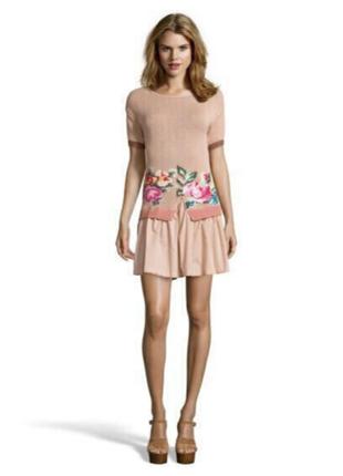Новое платье twin-set by simona barbieri s/m 100% хлопок пудра+цветы туника