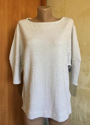 Оригинальная трикотажная блуза,лонгслив в полоску!!
