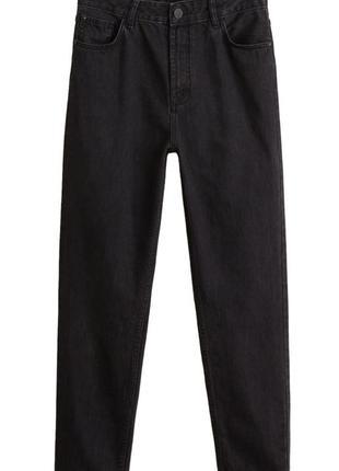 Чёрные джинсы mango 38 размер с высокой талией