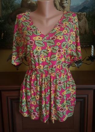 Яркий  летний тропический ромпер тропики комбез комбинезон с цветами1 фото
