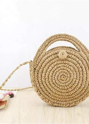 Плетеная круглая соломенная сумка / сумочка ротанг