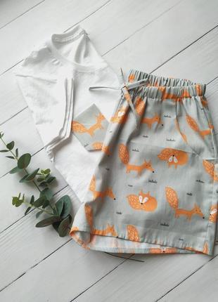 Пижама женская с карманами в лисички