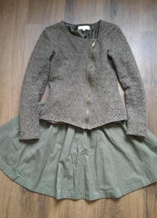 Ажурный пиджак цвета хаки