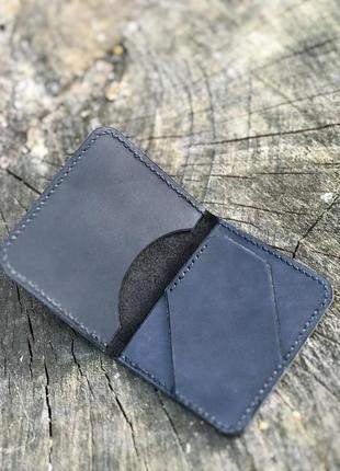 Кожаный картхолдер ручной работы на 3 отделения для карт коричневый