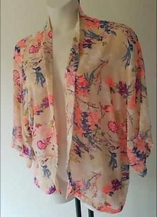 Блуза накидка кимоно шифоновая с цветочным принтом