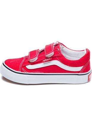 Красные кеды кроссовки вансы на липучках