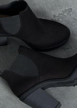 Замшевые ботинки на каблуке bershka