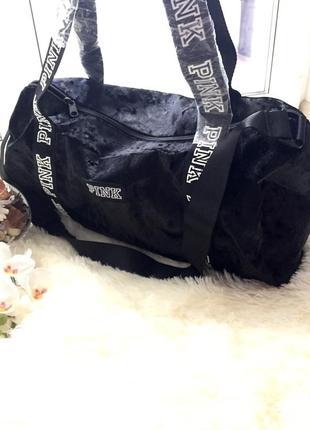 Спортивная бархатная сумка сумочка виктория сикрет пинк оригинал