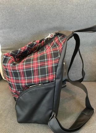 Стиляжный рюкзак-трансформер в клетку кожзам/текстиль супер!