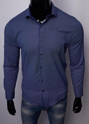 Рубашка мужская 15721 с регулировкой рукава синяя
