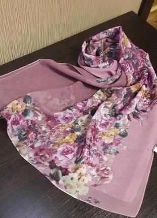 💝роскошный шарф шаль шифоновый пудра сирень