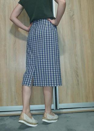 Немецкая клетчатая  юбка миди с высокой посадкой blanchelle2 фото