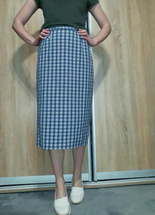 Английская клетчатая  юбка миди с высокой посадкой blanchelle