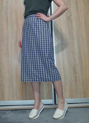 Немецкая клетчатая  юбка миди с высокой посадкой blanchelle4 фото
