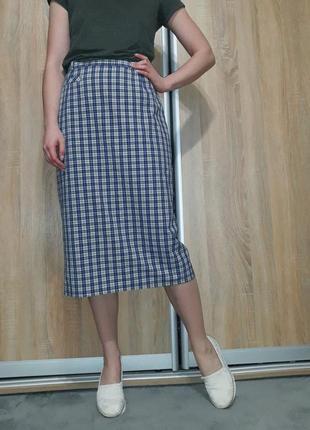 Немецкая клетчатая  юбка миди с высокой посадкой blanchelle3 фото