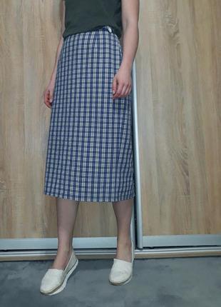 Немецкая клетчатая  юбка миди с высокой посадкой blanchelle7 фото