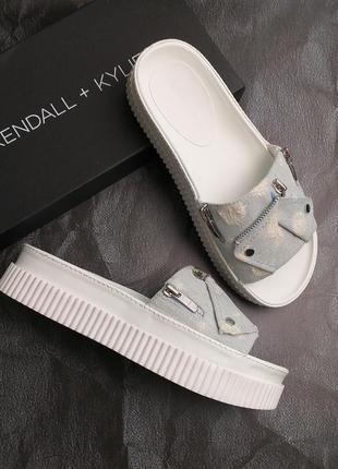 Kendall + kylie оригинал сандалии шлепанцы на платформе деним бренд из сша