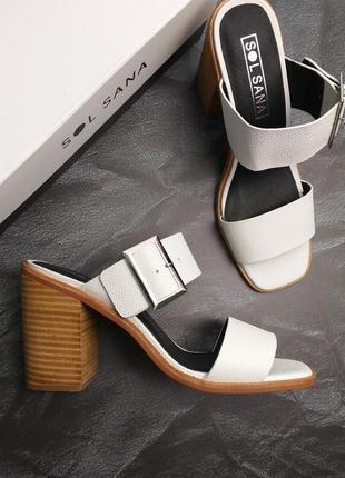Sol sana оригинал дизайнерские белые кожаные босоножки на широком каблуке