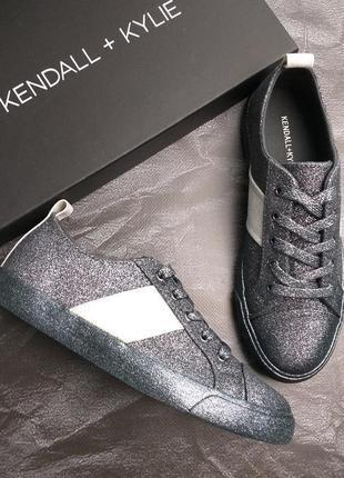 Kendall + kylie оригинал темно-серые кеды с глиттером бренд из сша7 фото