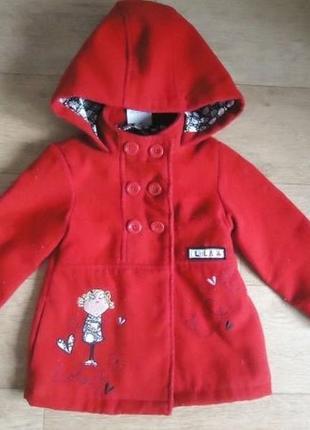 Яркое красивое детское пальто на 1-1,5 года