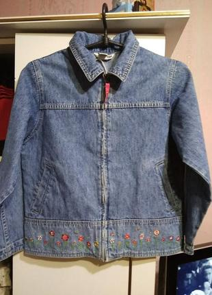 Джинсовый пиджак с вышивкой h&m 9 - 11 лет