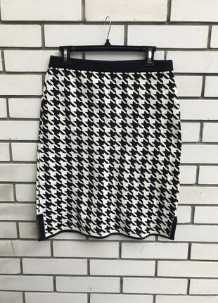 Вязаная,трикотаж юбка-карандаш в черно-белую,гусиную лапку,стиль шанель,хлопок