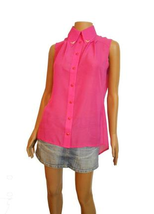 Розовая шифоновая блузка без рукавов