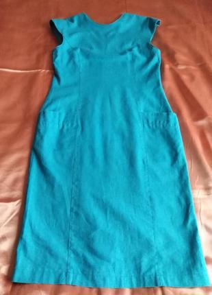 Льняное элегантное платье с карманами