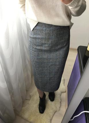 Юбка в клетку, шерстяная юбка, длинная юбка в клетку, трендовая юбка, спідниця в клітинку