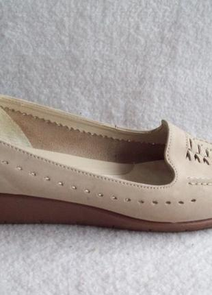 Туфли лоферы беж кожа, стелька 27 см.