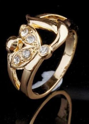 🏵️элегантное позолоченное кольцо, 18 р., новое! арт.3313 - 11 фото