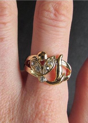 🏵️элегантное позолоченное кольцо, 18 р., новое! арт.3313 - 12 фото