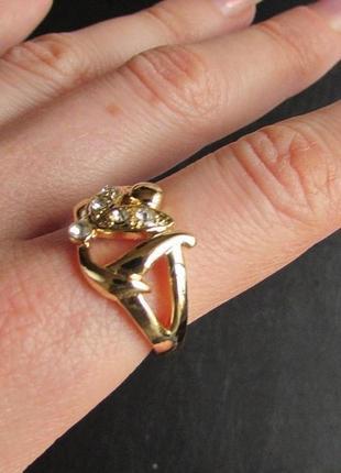 🏵️элегантное позолоченное кольцо, 18 р., новое! арт.3313 - 13 фото