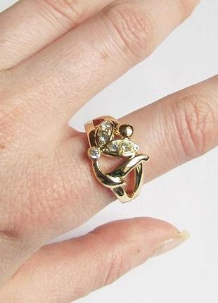 🏵️элегантное позолоченное кольцо, 18 р., новое! арт.3313 - 15 фото